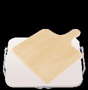 Ceramiczna podstawka do pizzy, prostokątna 38 x 30 cm,z drewnianą łopatką